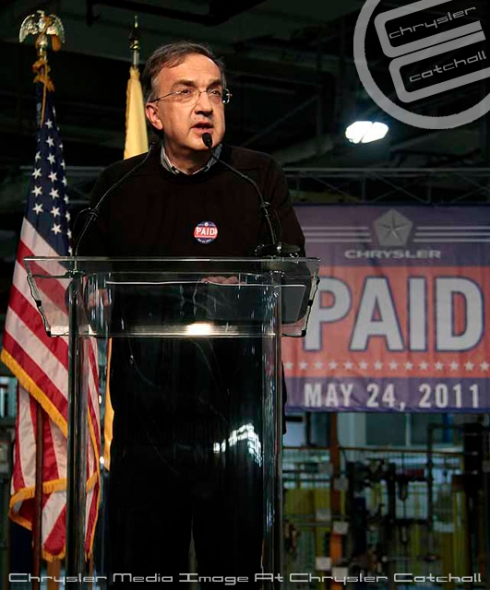 Sergio Marchionne announcing Chrysler's Pay Back