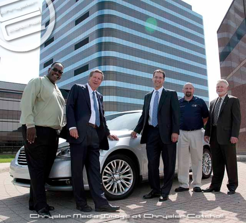 UAW Vice President General Holiefield (left), Ohio Governor John Kasich, Chrysler's Head of Manufacturing Scott Garberding, Toledo Machining Committeeman Rodney Ridgway and Chrysler's Head of Powertrain Operations Brian Harlow